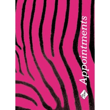Agenda Appointment Book 6 Colomn Pink Zebra Print