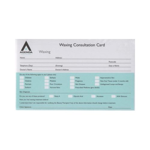 Agenda Client Service Record Cards - Waxing