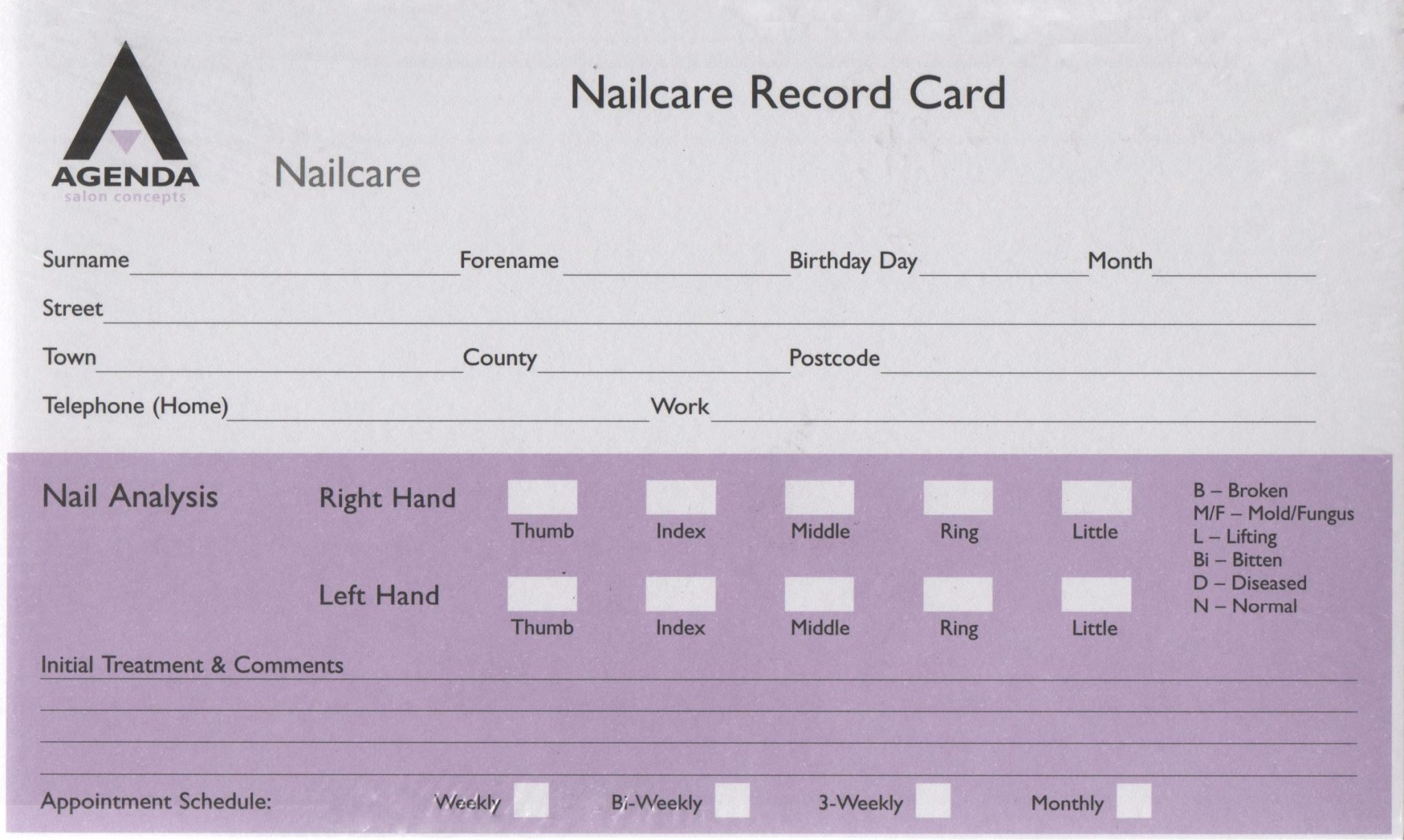 Agenda Client Service Record Cards - Nailcare
