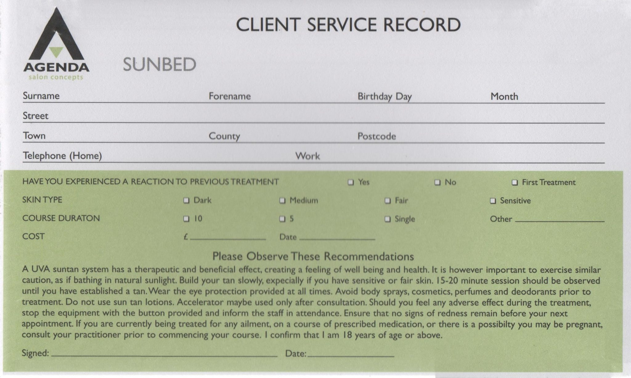 Agenda Client Service Record Cards - Sunbed