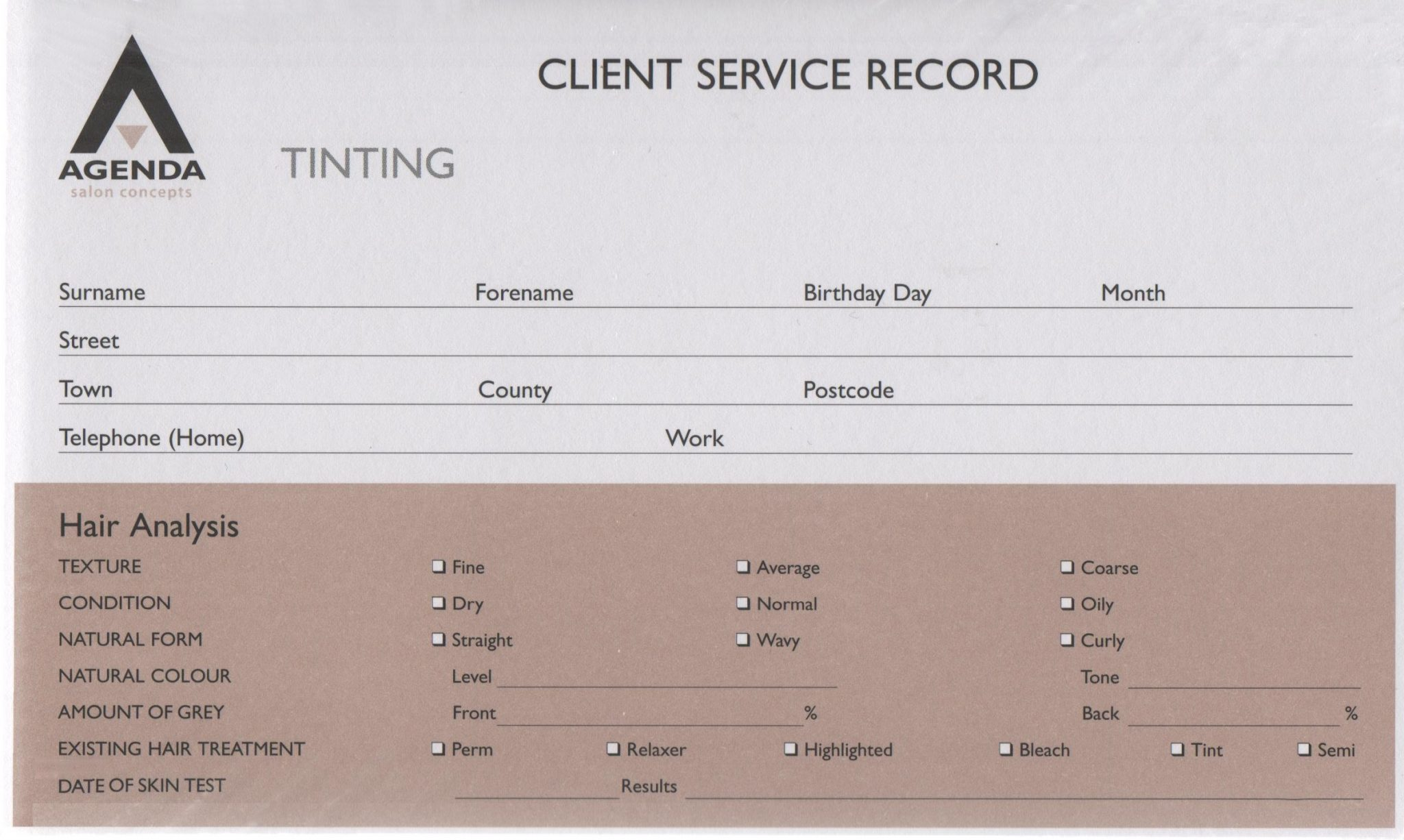 Agenda Client Service Record Cards - Tinting