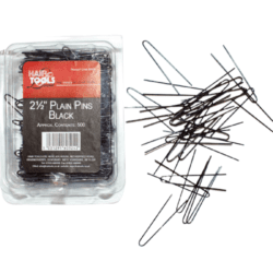 "Hair Tools 2.5"" Plain Pins Black (Box of 500)"