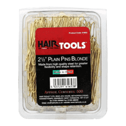 "Hair Tools 2.5"" Plain Pins Blonde (Box of 500)"